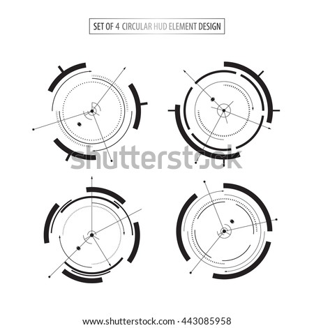 set of 4 futuristic icon elements design tech sci fi concept