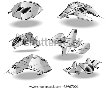 set of futuristic interceptors