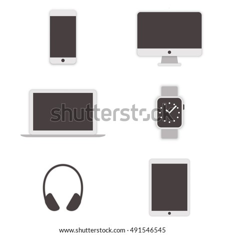set of gadget icons monitor