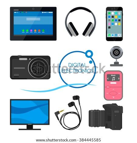 Set of gadgets and consumer electronic devices. Vector illustration in flat style. Design items and icons, phone, computer, camera, tablet, headphones.