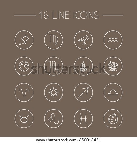 set of 16 galaxy outline icons