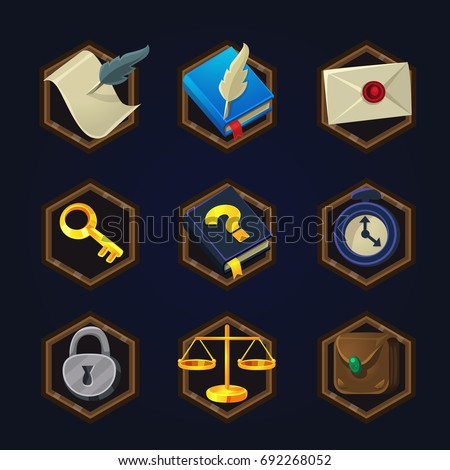 set of game 2d detective icons