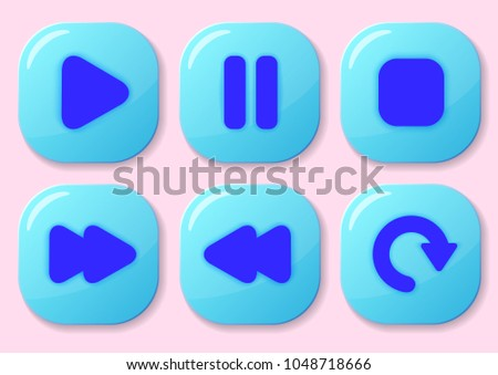 Set of game interface push buttons.