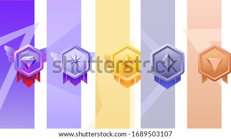 Set of Game rating icons with medals.Game Golden, Silver, Bronze Medal. Vector Illustration, Vector round assets for game design.Award vector illustration.