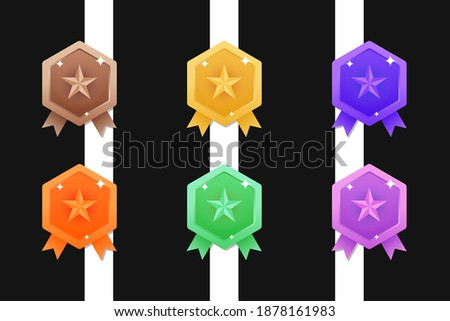 Set of Game rating icons with medals, Vector Illustration, Vector round assets for game design, Award vector illustration, Colorful medals set, Set of Vector Game Medal Set.