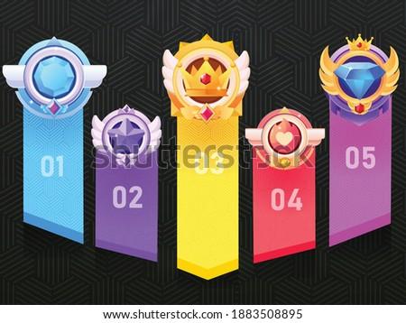 Set of Game ui rating Badges for Game  Winners.Game Golden, Silver, Bronze Medal. Vector Illustration, Vector round assets for game design.Award vector illustration. Photo stock ©