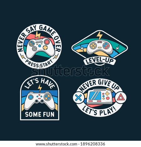 set of gamepad badges  patches