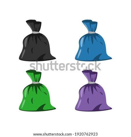 Set of garbage bags in different colors: black, blue, green and purple. Flat vector cartoon illustration. Foto stock ©