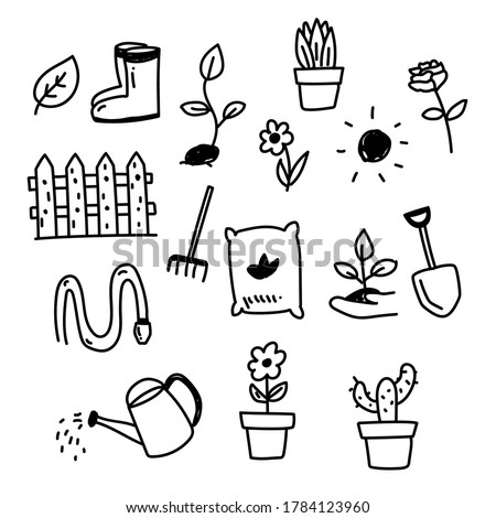 Set of garden and flower related doodle illustration such as shovel, watering can and more  Foto stock ©