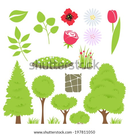Elements trees flowerbed flowers in flat style stock vector