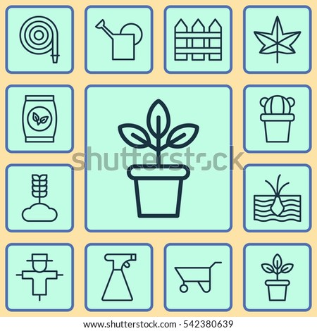 set of 12 gardening icons