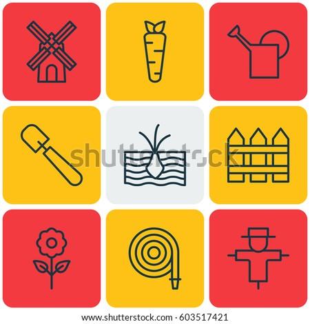 set of 9 gardening icons