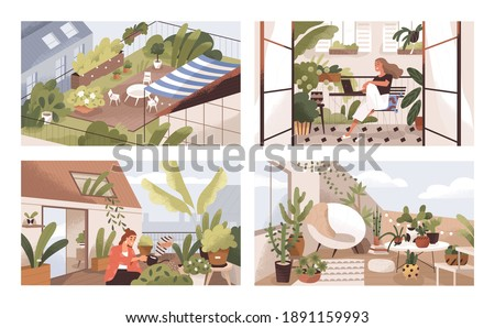 Set of gardens at terraces, balconies and roofs with plants and furniture. Modern cozy eco-style home interiors with greenery, tables and chairs. Colorful flat textured vector illustration.