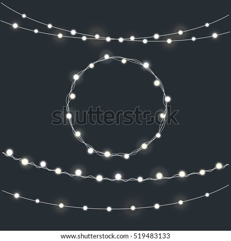 Set of garland Christmas lights. Bright holiday lights. Vector holiday elements illustration template for web design or greeting card