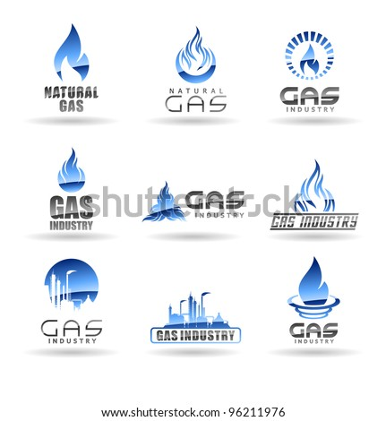 Set of gas energy icons Natural gas Gas industry.