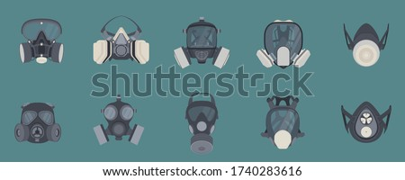 Set of gas masks - gas masks, chemical gas mask, poison gas mask, pollution protection masks, respirator mask. for firefighters and the military. Vector illustration.