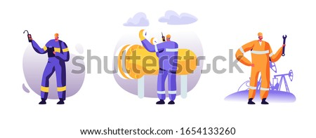 Set of Gasmen and Engineers Stand near Gas Facility Station at Plant. Workers Men in Uniform with Equipment Work in Gas Industry. Technician Maintenance Service. Cartoon Flat Vector Illustration
