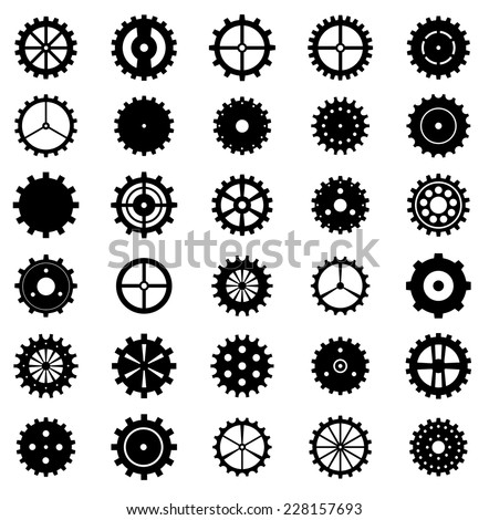 set of gear wheels  vector