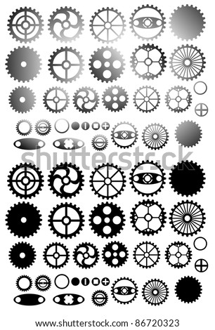 set of gear wheels vector isolated on white background
