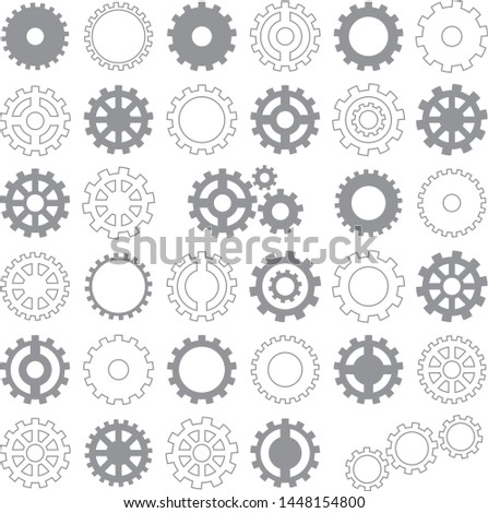set of gears icons isolated on white background