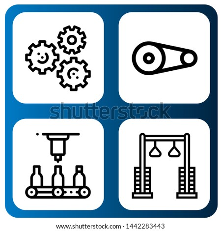 Set of gears icons such as Gears, Pulley, Automatic , gears