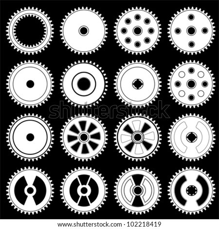 Set of gears, vector