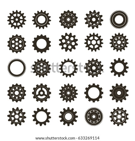 Set of gears. Vector illustration.