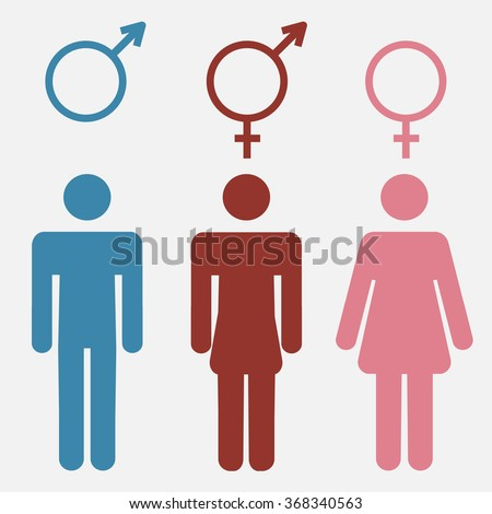 Set of gender symbols with stylized silhouettes male  female and unisex or transgender   vector. Shutterstock Mobile  Royalty Free Subscription Stock Photography