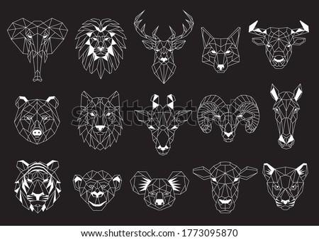 Set of Geometric abstract animals. White animals on black background. Trendy mono line vector design Stock photo ©