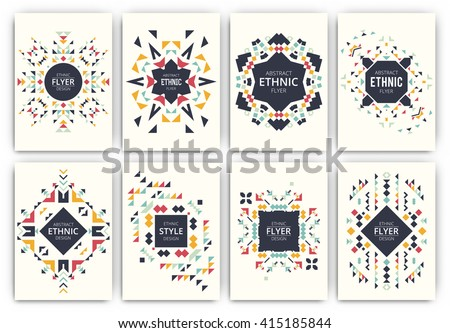 Set of geometric abstract colorful flyers - ethnic style brochure templates - collection of design elements - modern background templates