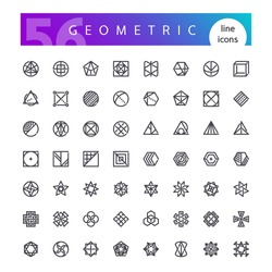Set of 56 geometric abstract symbols line icons suitable for esoteric, alchemy, sacred, tribal and aztec, sacred geometry, mystic logo shapes. Isolated on white background. Clipping paths included.