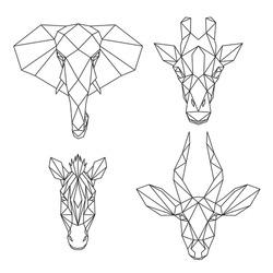 Set of geometric African animals, abstract polygonal style elephant, giraffe,  zebra, antelope, vector illustration