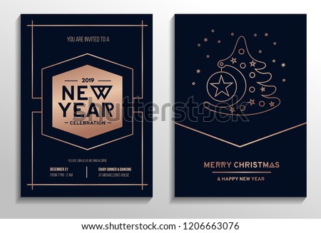 Set of geometric Christmas party cards with rose gold lines and dark background. Vector illustration #1206663076