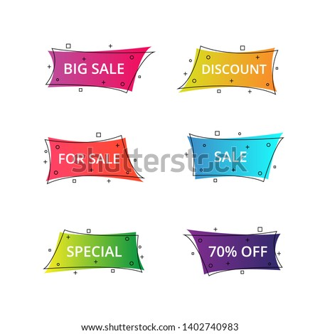 Set of geometric flat banners. Modern abstract gradient shapes suitable for sale promotion, discount title frame, or business element.