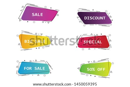 Set of geometric flat banners. Modern abstract gradient shapes suitable for sale promotion, discount title frame, or business element. - Vector