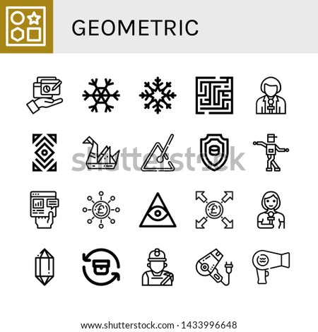 Set of geometric icons such as Shapes, Report, Snowflake, Maze, Reporter, Abstract, Origami, Triangle, Emblem, Shuffle, Pound, Freemasonry, Crystal, Return, Miner , geometric