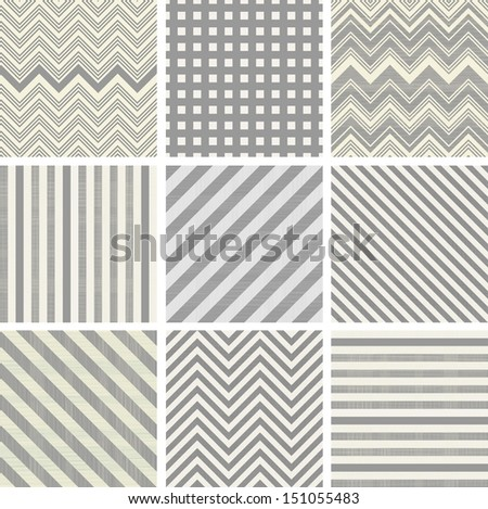 set of 9 geometric lines seamless patterns