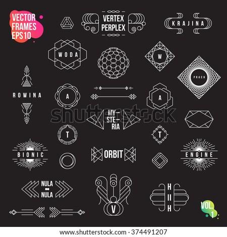 Set of geometric logotypes, frames, signs, emblems and badges. Line design elements, vector illustration