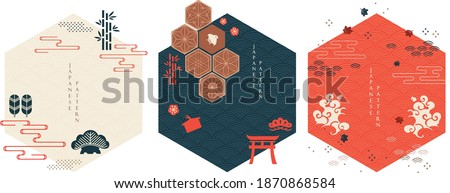 Set of geometric modern graphic elements vector. Asian icons and symbol with Japanese pattern. Abstract banners with template for logo design, flyer or presentation in vintage style. Stockfoto ©