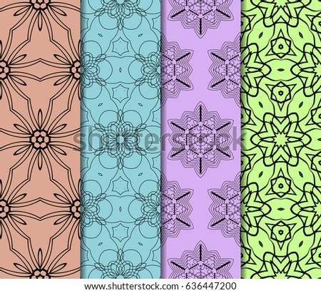 set of 4 geometric Ornamental flower lace pattern. Endless Texture. vector illustration. #636447200