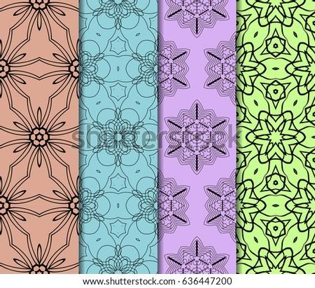 set of 4 geometric Ornamental flower lace pattern. Endless Texture. vector illustration. #636447200