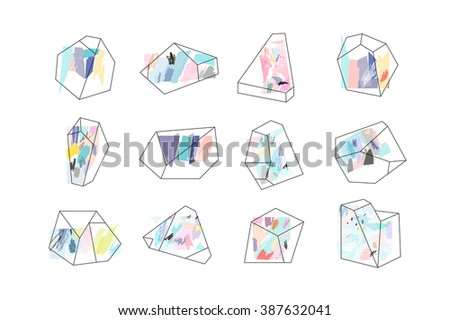 set of geometric outline shapes