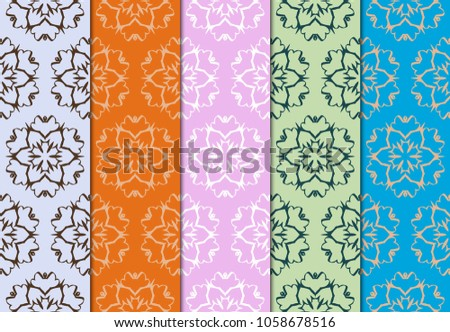 set of geometric pattern on color background. vector illustration. for design, wallpaper #1058678516