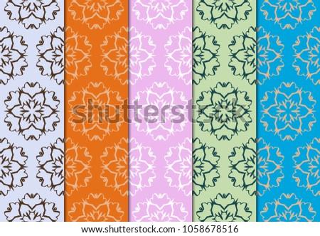 set of geometric pattern on color background. vector illustration. for design, wallpaper #1058678516