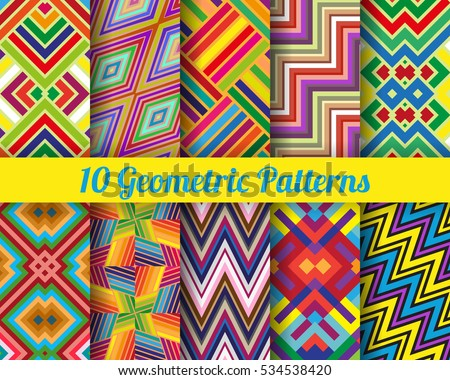 Set of 10 geometric patterns. Color seamless vector backgrounds.