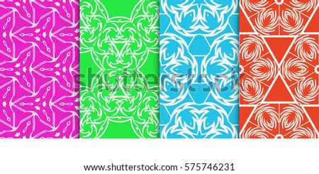 set of Geometric seamless pattern. Modern floral ornament. vector illustration. For the interior design, wallpaper, decoration print, fill pages