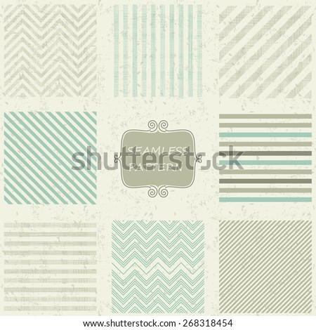 set of 8 geometric seamless patterns on shabby background