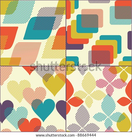 Set of geometric seamless patterns, wallpapers,and backgrounds
