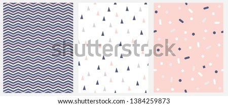 Set of 3 Geometric Seamless Vector Pattern with Chevron, Triangles and Dots. Pink, White and Gray Zigzags Isolated on a Blue Background.Simple Lovely Confetti Rain on a Pink.Tiny Triangles on a White.