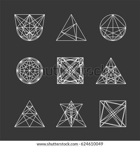 Set of geometric shapes. Can be used for logos, decoration, etc.